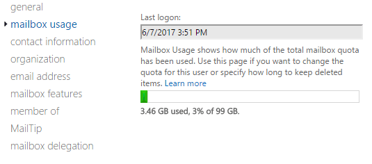 Mailbox Usage in Exchange Online / Office 365