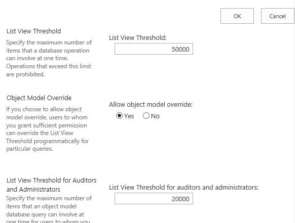List View Threshold