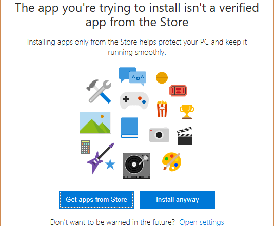 Windows 10 Unverified App Notification