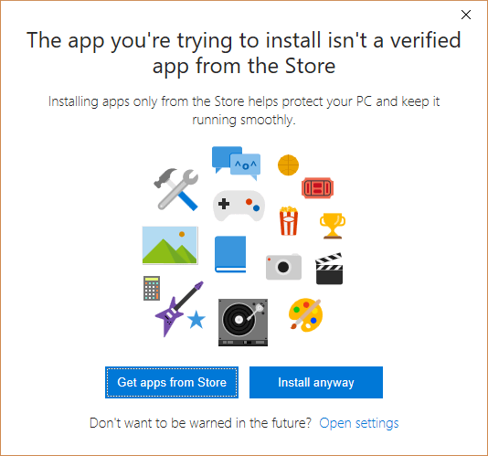 Windows 10 Unverified App Notification