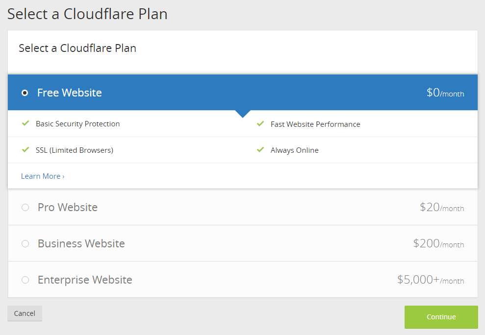 Free Website Plan for CloudFlare