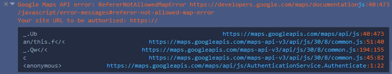 Google Maps API error: RefererNotAllowedMapError