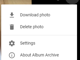 Delete Photo in Google Album Archive