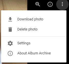 Delete Photo in Google Album Archive
