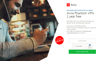 Free 1 Year License of Avira Phantom VPN Pro