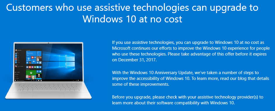 Free Windows 10 Upgrade for Accessibility