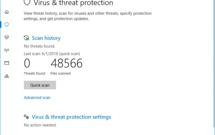 Windows Defender Security Scan