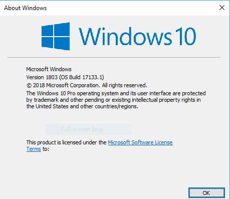 Windows 10 Spring Creators Update v 1803 (Redstone 4) RTM Build