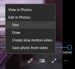 Trim Video in Windows 10