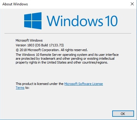 Windows 10 Version 1803 Build 17133.73