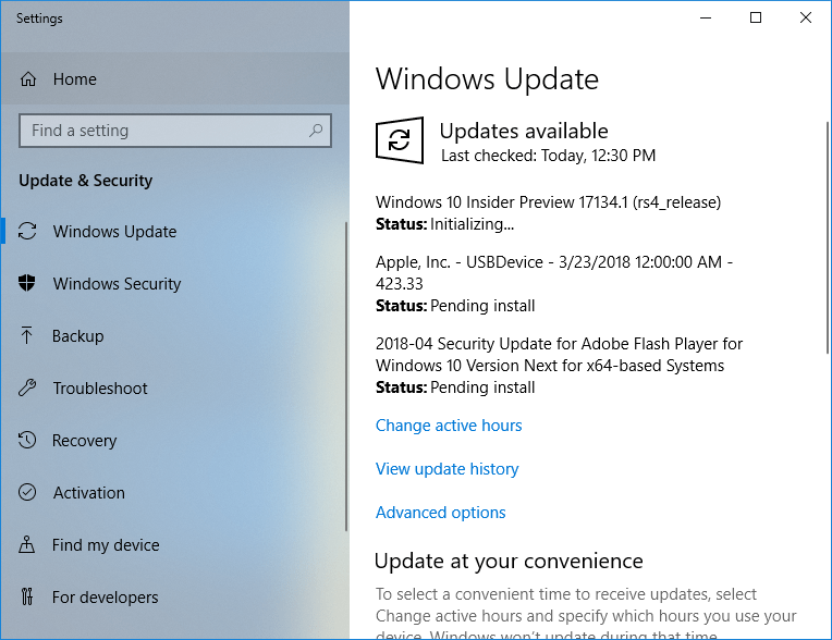 Windows 10 Build 17134