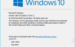 Windows 10 April 2018 Update OS Version 1803 Build 17134