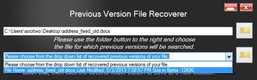 Previous Version File Recoverer