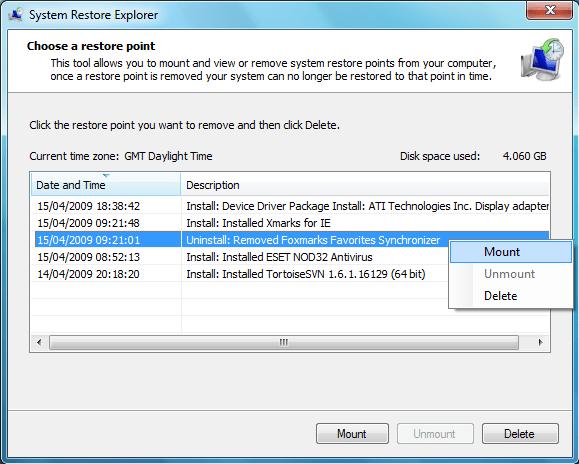 System Restore Explorer