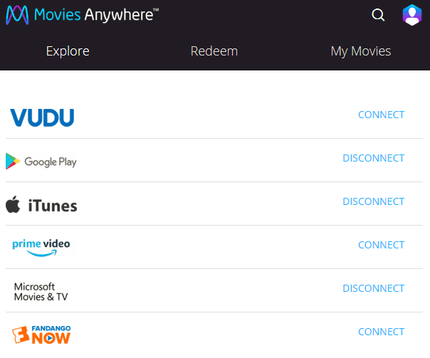 Connect Movies Anywhere to Online Retailers