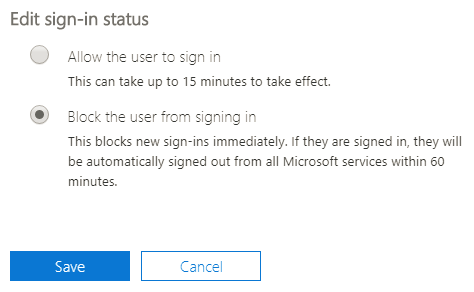 Office 365 Block and Disable User