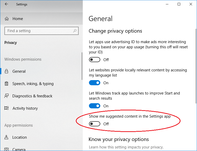 Disable Suggested Content in Settings of Windows 10
