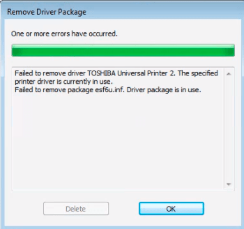 Failure & Unable to Delete or Remove Printer Driver Package