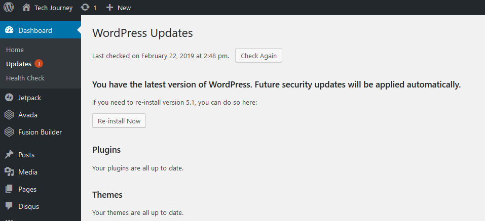 WordPress Indicates Updates Available When All Updated