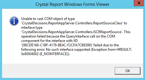 Crystal Reports Print PDF Reports Error