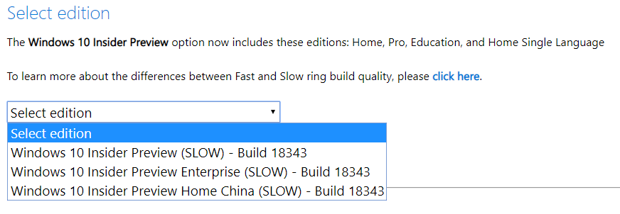 Windows 10 19H1 Insider Preview Build 18343 ISO