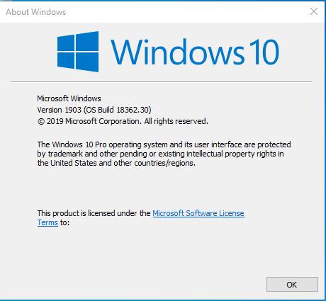 Windows 10 Version 1903 RTM Build 18362.30