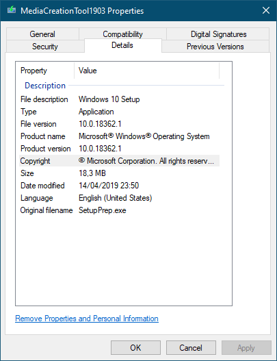 Windows 10 v.1903 May 2019 Update Media Creation Tool v.18362