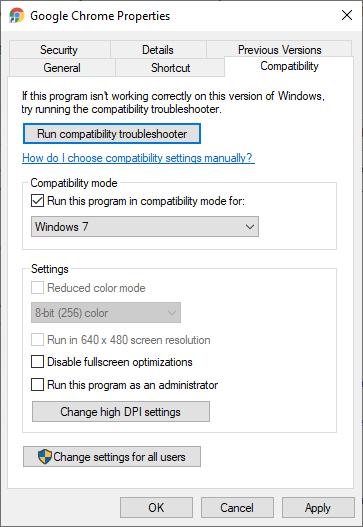 Chrome in Compatibility Mode