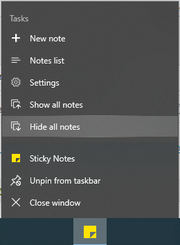 Show All Notes or Hide All Notes of Sticky Notes