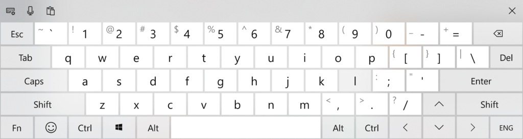 Full Standard Layout Touch Keyboard in Windows 10