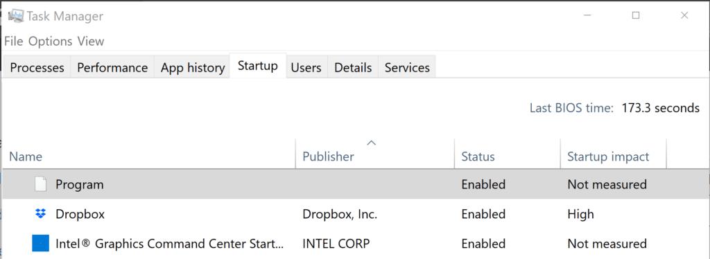Program in Task Manager Startup