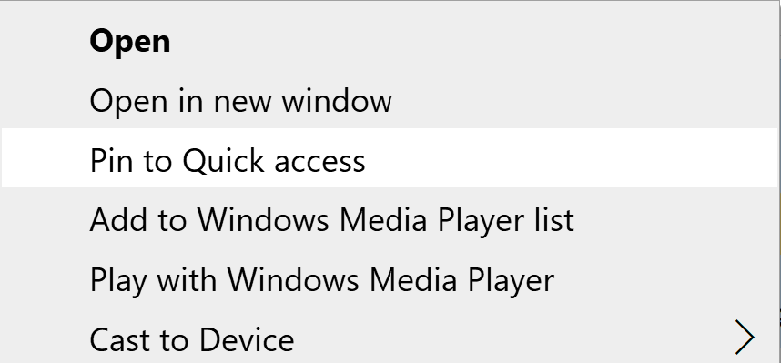 Pin to Quick Access in Right Click Context Menu