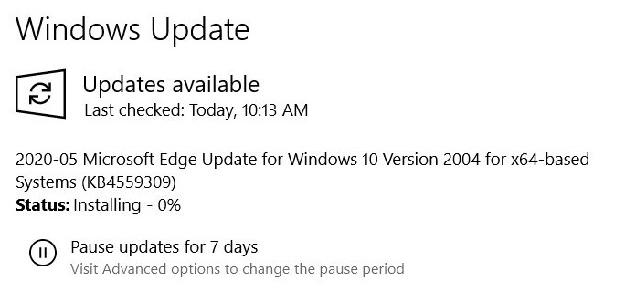 Microsoft Edge Update for Windows 10