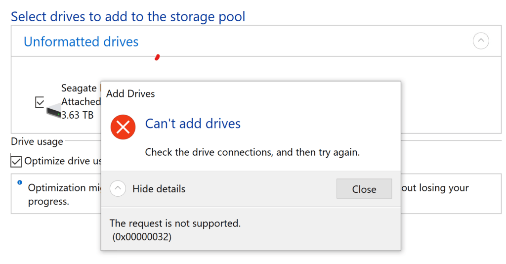 Can't Add Drives