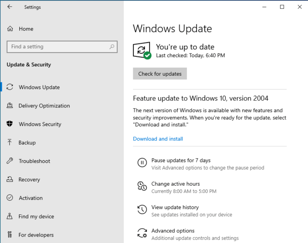 Feature Update to Windows 10, version 2004