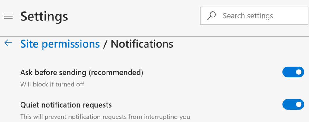 Quiet Notification Requests