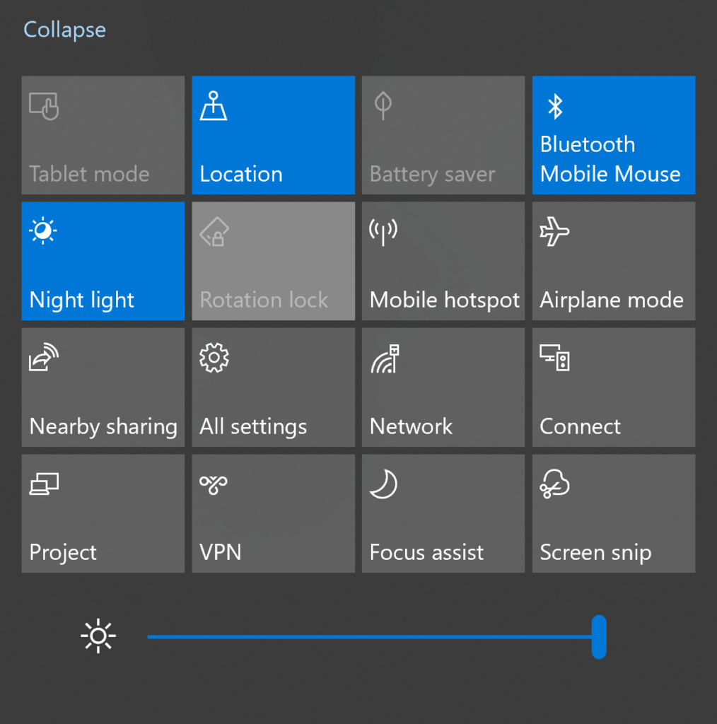 Change Brightness Level in Windows 10