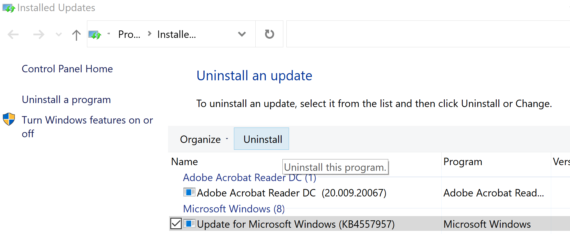 Uninstall Update in Windows